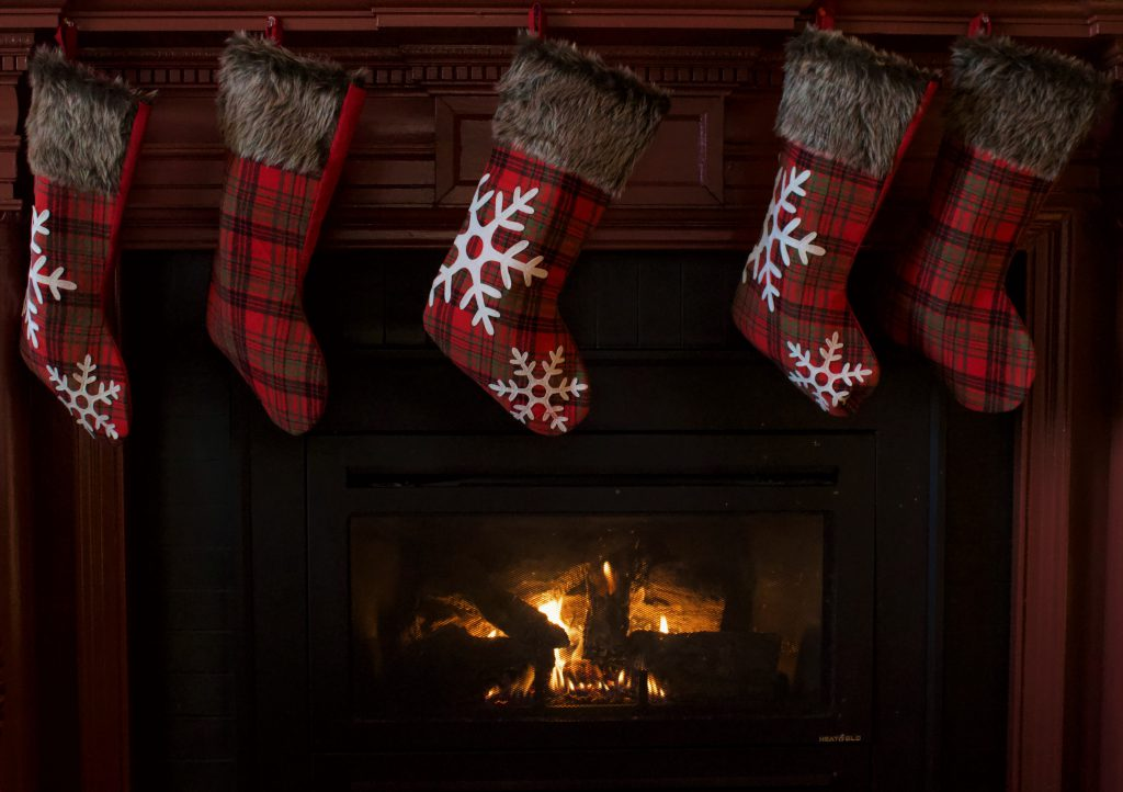 Christmas stocking hung above the fireplace