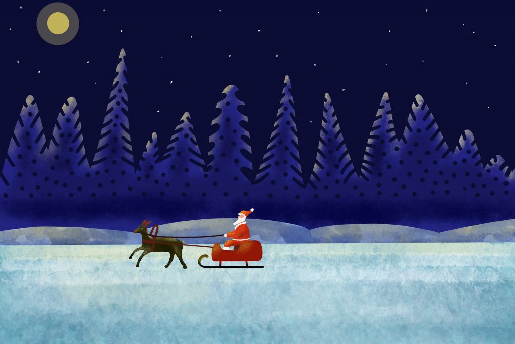Father Christmas being pulled by a sleigh