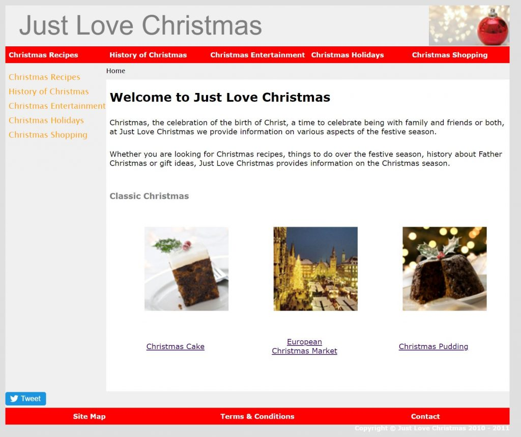 What the old Just Love Christmas website used to look like